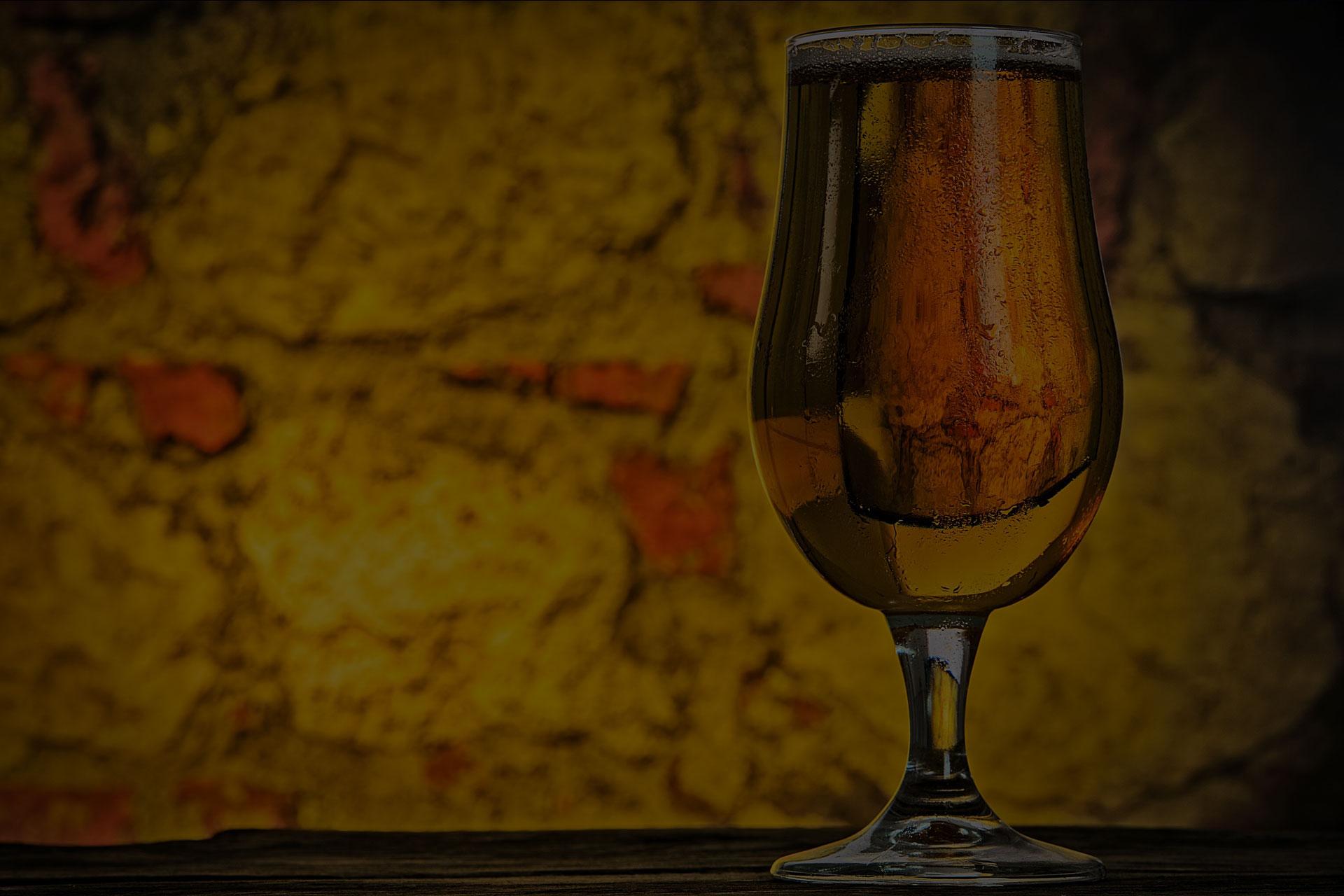 A glass of pint alchohal bar